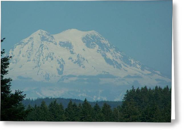 Snow Scene Pyrography Greeting Cards - Mt Rainier Washington Greeting Card by Laurie Kidd