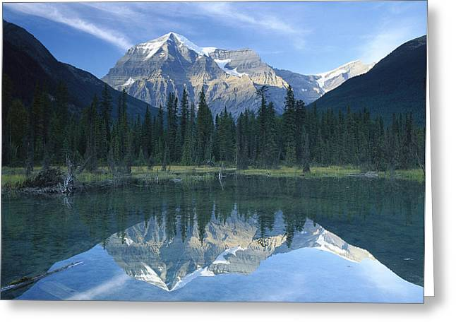 Mt Robson Highest Peak In The Canadian Greeting Card by Tim Fitzharris