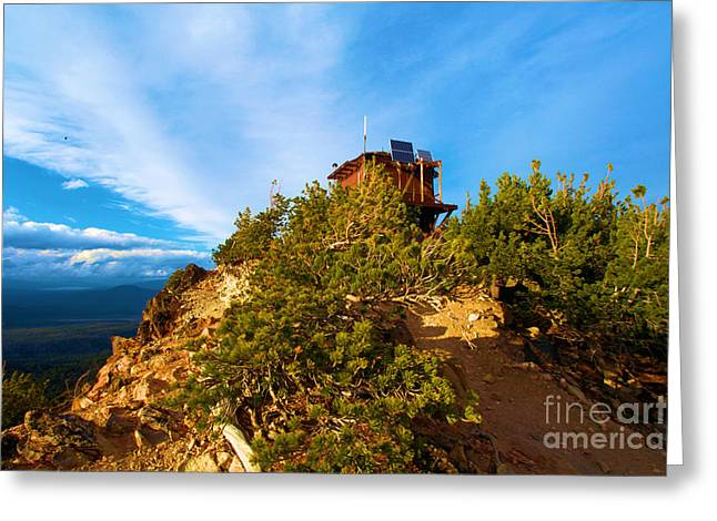 Crater Lake Sunset Greeting Cards - Mt Scott Fire Tower Greeting Card by Adam Jewell