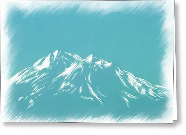 Siskiyou County Greeting Cards - Mt Shasta Snow Melts to Blue Sketch Greeting Card by Cindy Wright