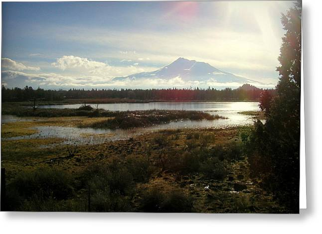 Siskiyou County Greeting Cards - Mt Shasta Sunburst and Reflections Greeting Card by Cindy Wright