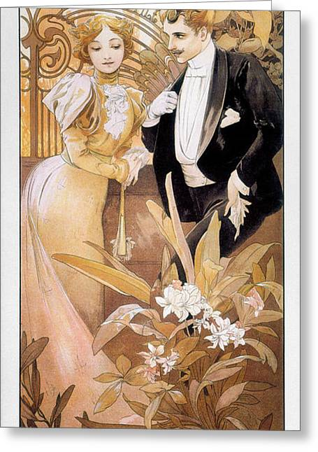 Flirtation Greeting Cards - MUCHA: BISCUIT AD, c1895 Greeting Card by Granger