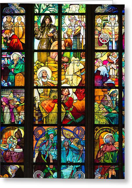 Fenster Photographs Greeting Cards - Mucha window Saint Vitus Cathedral Prague Greeting Card by Matthias Hauser