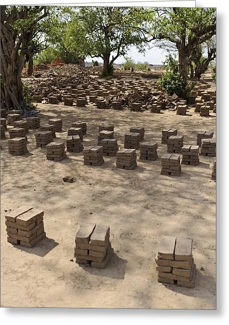 Sun Baking Greeting Cards - Mud Bricks Drying, Sudan Greeting Card by Matthew Oldfield