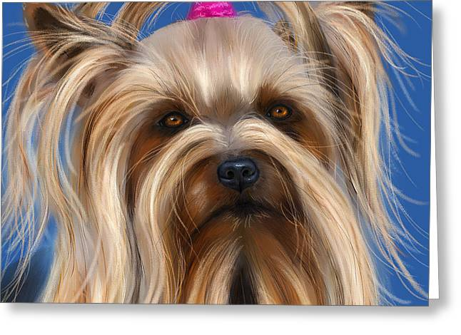 Pet Portrait Greeting Cards - Muffin - Silky Terrier Dog Greeting Card by Michelle Wrighton