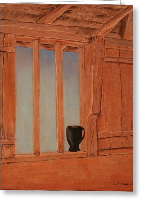 Cabin Window Pastels Greeting Cards - Mug In The Window Greeting Card by Jeffrey Brown