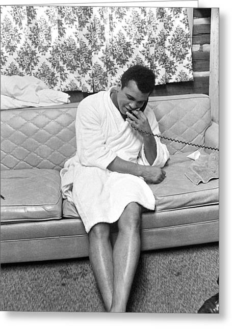 Bathrobe Greeting Cards - Muhammad Ali on Phone Greeting Card by Jan Faul