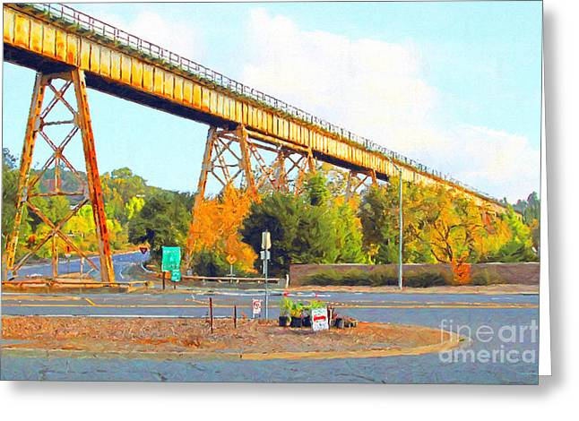 Back Roads Digital Art Greeting Cards - Muir Railroad Trestle in Martinez California . Painterly Greeting Card by Wingsdomain Art and Photography