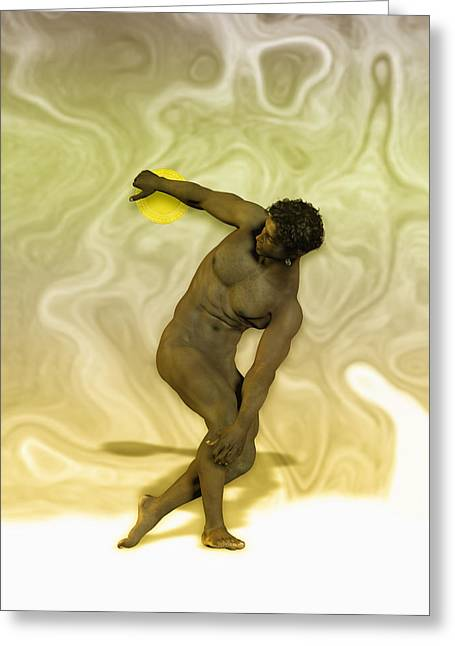 Muscular Digital Art Greeting Cards - Mulatto discobolus Greeting Card by Joaquin Abella