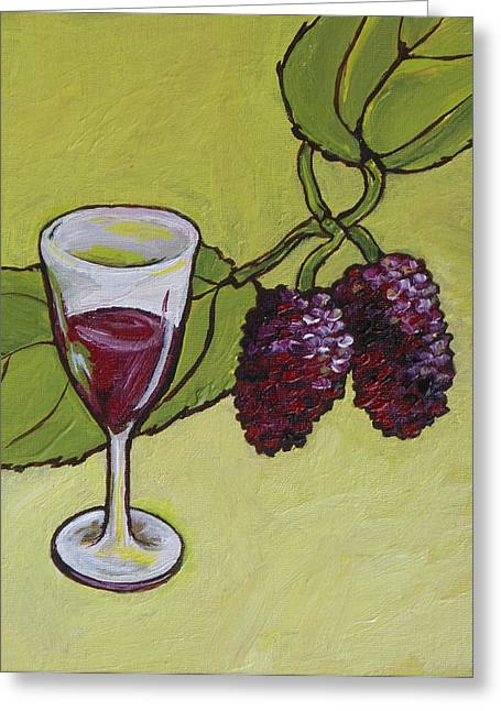 Wine Sipping Paintings Greeting Cards - Mulberry Wine  Greeting Card by Sandy Tracey