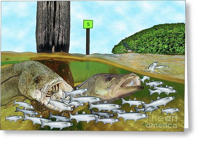 Tarpon Drawings Greeting Cards - Mullet Run Greeting Card by Alex Suescun
