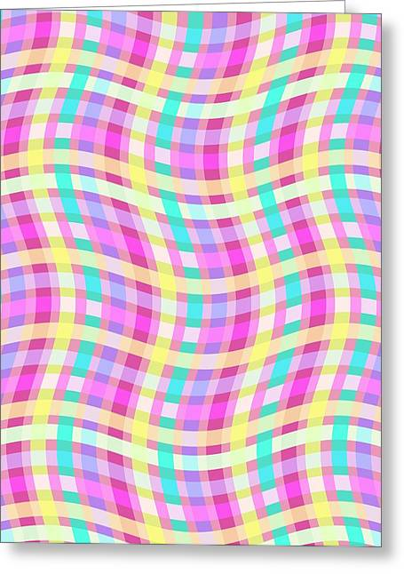 Geometric Style Greeting Cards - Multi Check Greeting Card by Louisa Knight