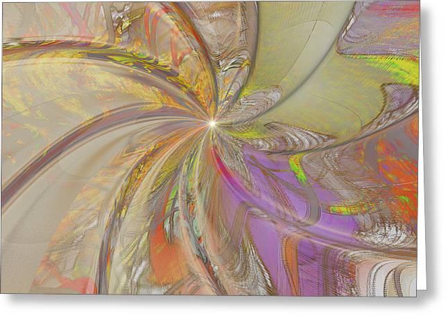 Multi Colored Pinwheel Greeting Card by Deborah Benoit