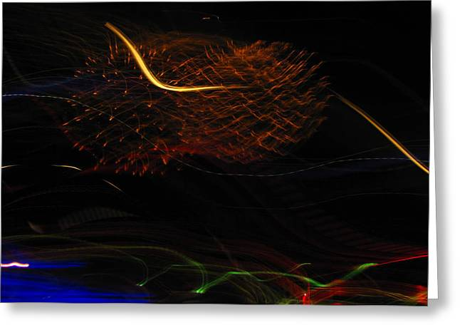 Blue Fireworks Greeting Cards - Multi Firework Greeting Card by Denise Keegan Frawley