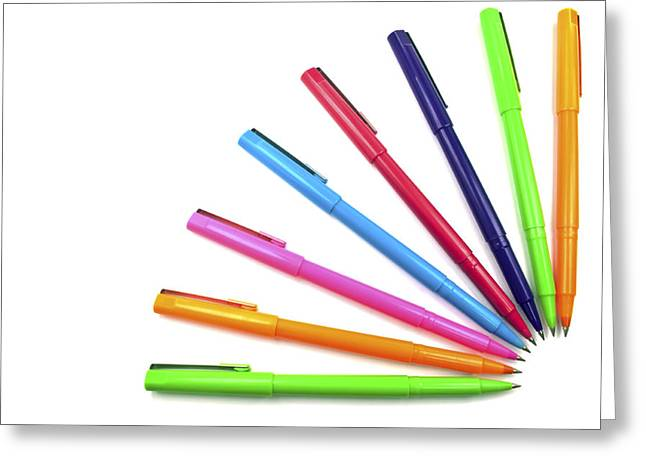 Multicolored Drawing Greeting Cards - Multicolor pens. Greeting Card by Fernando Barozza