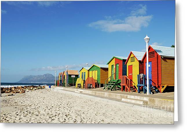 Sami Sarkis Greeting Cards - Multicoloured beach huts on Muizenberg beach Greeting Card by Sami Sarkis