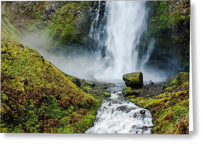Up201209 Greeting Cards - Multnomah Falls  Greeting Card by Josh Whalen