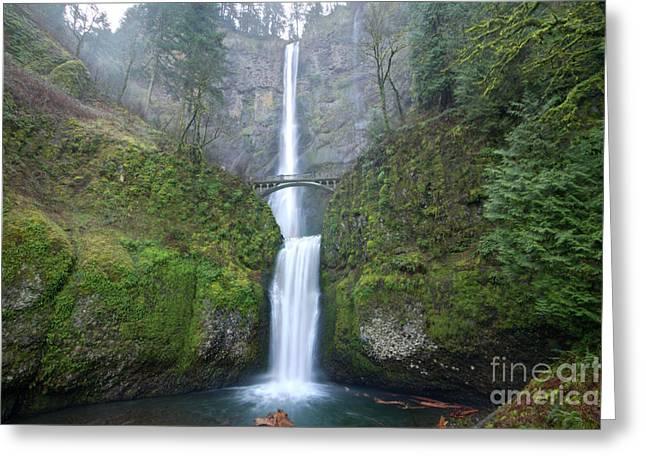 Columbia River Gorge Greeting Cards - Multnomah Falls Oregon Columbia River Gorge Greeting Card by Dustin K Ryan