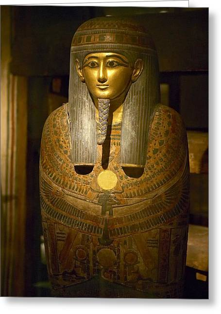 Egyptian Sarcophagus Greeting Cards - Mummy Cover Of Panehesy Greeting Card by Colin Cuthbert