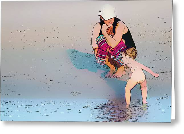 Para Surfing Greeting Cards - Mummy I can swim Greeting Card by Star Ship
