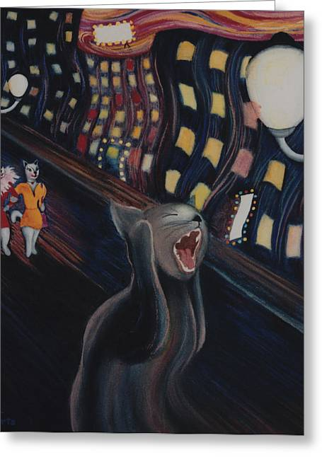 Best Sellers -  - Pictures Of Cats Greeting Cards - Munchs Cat--The Scream Greeting Card by Eve Riser Roberts