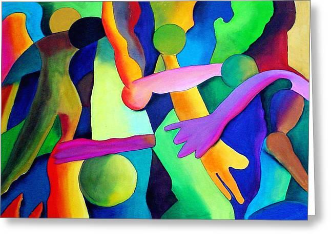 Abstract Movement Pastels Greeting Cards - Mundo de los Locos Greeting Card by John Crespo Estrella