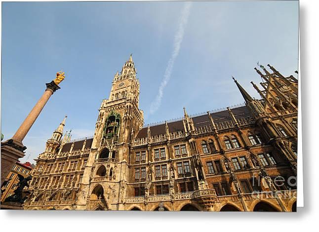 Munich City Hall Greeting Card by Holger Ostwald