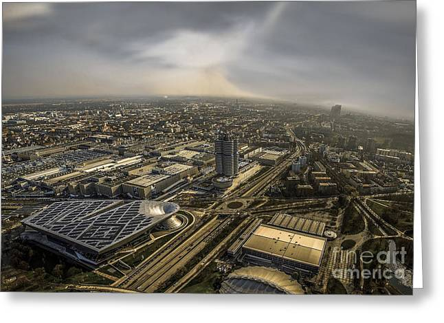 Munich From Above - Vintage Part Greeting Card by Hannes Cmarits