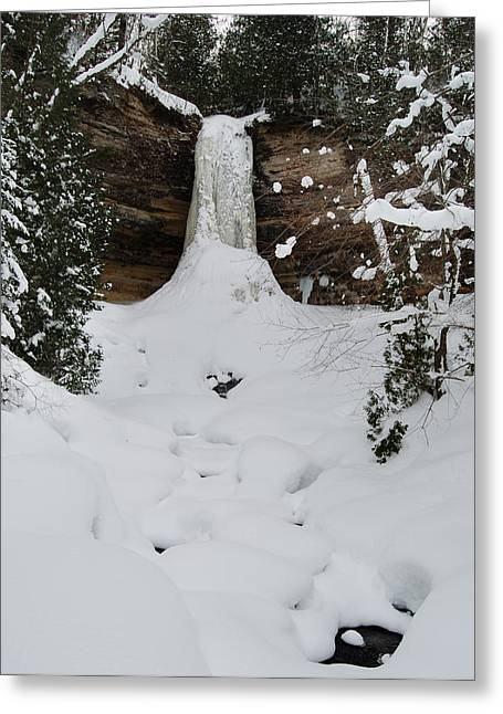 Snow-covered Landscape Photographs Greeting Cards - Munising Frozen Greeting Card by Michael Peychich