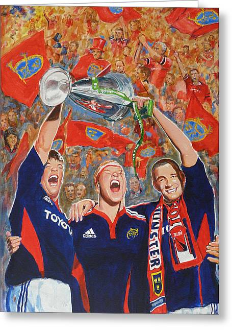 Quinlan Greeting Cards - Munster Heiniken Cup Winners 2008 Greeting Card by Tomas OMaoldomhnaigh