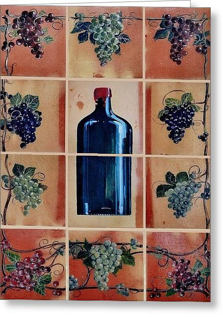 Wine Grapes Ceramics Greeting Cards - Mural 1 Greeting Card by Andrew Drozdowicz