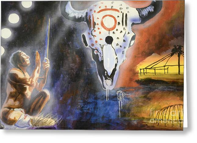 Medicine Man Greeting Cards - Mural Art Greeting Card by Bob Christopher