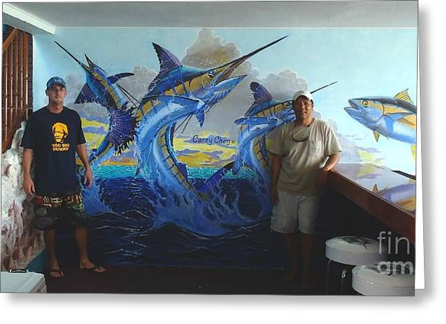 Mural In Bimini Greeting Card by Carey Chen