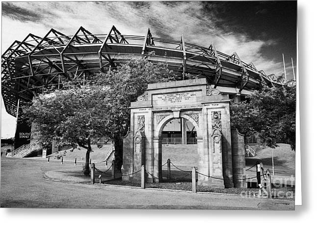 War Memorial Stadium Greeting Cards - Murrayfield Stadium With War Memorial Arch Edinburgh Scotland Greeting Card by Joe Fox