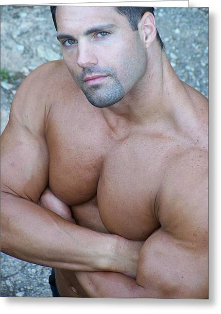 Muscleman Greeting Cards - MuscleArt Marius Looking Greeting Card by Jake Hartz