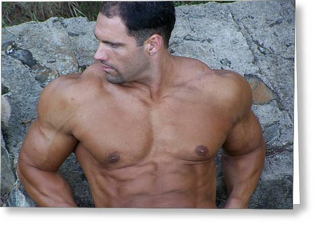 Powermen Greeting Cards - MuscleArt Marius Summer Muscle Greeting Card by Jake Hartz