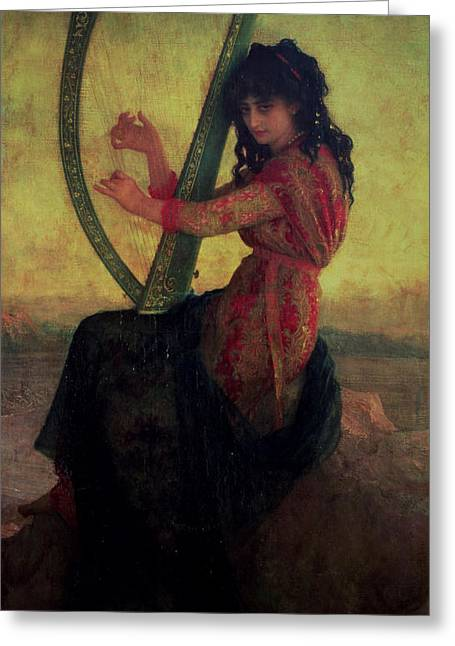 Lyre Paintings Greeting Cards - Muse Playing the Harp Greeting Card by Antoine Auguste Ernest Hebert