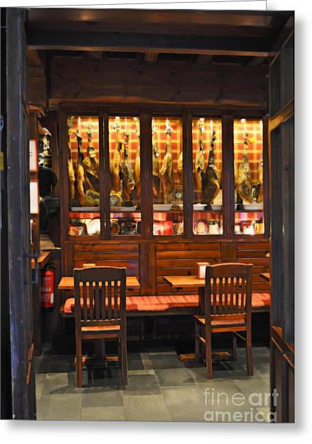 Display Case Greeting Cards - Museo de Jamon Seville Greeting Card by Mary Machare