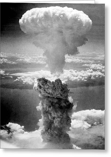 Atomic Bomb Greeting Cards - Mushroom Cloud Over Nagasaki  Greeting Card by War Is Hell Store
