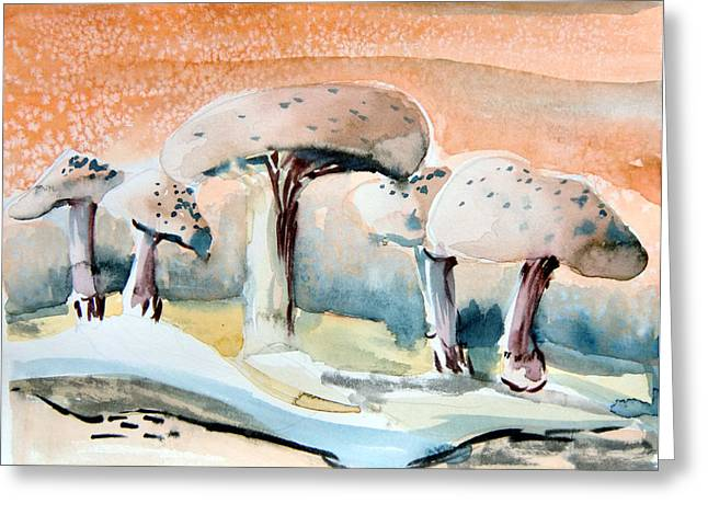 Office Plants Drawings Greeting Cards - Mushroom Heaven Greeting Card by Mindy Newman