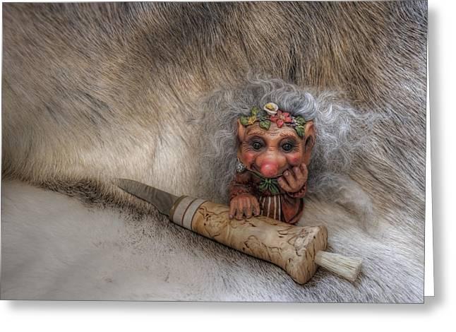 Troll Greeting Cards - Mushroom Hunter Greeting Card by Merja Waters