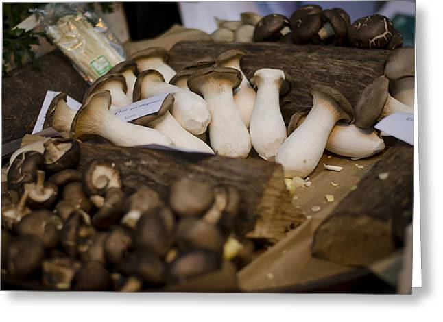 Mushrooms At The Market Greeting Card by Heather Applegate