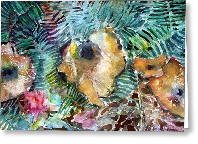 Fungi Mixed Media Greeting Cards - Mushrooms in the Forest Greeting Card by Mindy Newman