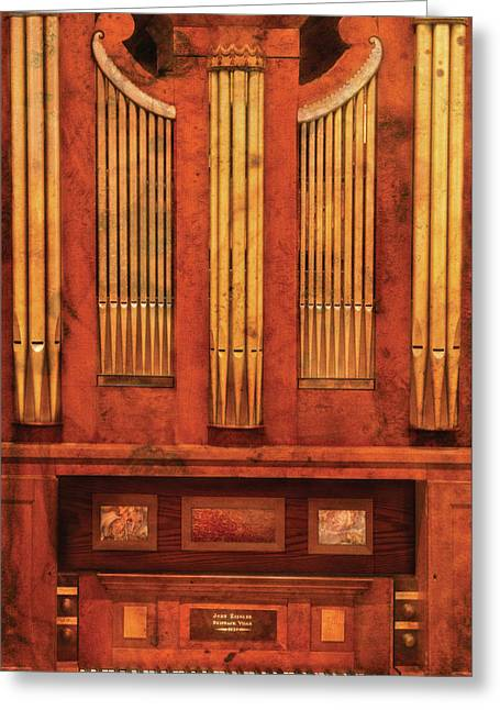 Church Synagogue Greeting Cards - Music - Organist - Skippack  Ville Organ - 1835 Greeting Card by Mike Savad