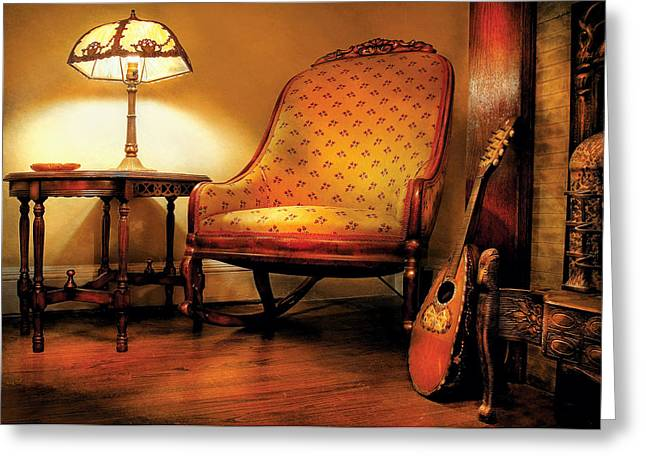 Table Lamp Greeting Cards - Music - String - The chair and the lute Greeting Card by Mike Savad