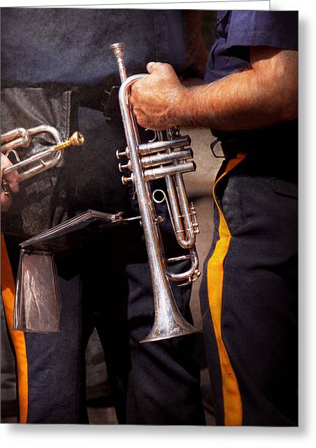 Music - Trumpet - Police Marching Band  Greeting Card by Mike Savad