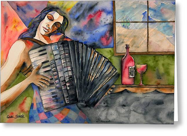 Limited Edition Greeting Cards - Music and Wine Greeting Card by Guri Stark
