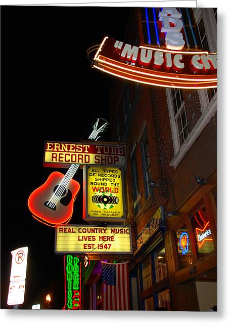 Live Music Greeting Cards - Music City Nashville Greeting Card by Susanne Van Hulst
