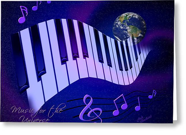 Planet Earth Greeting Cards - Music for the Universe Greeting Card by Judi Quelland