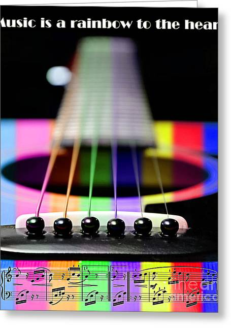Fretboard Greeting Cards - Music Is A Rainbow To The Heart Greeting Card by Andee Design